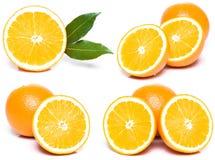 Geschnittenes Orangenset Lizenzfreie Stockfotos