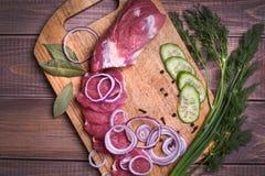 Geschnittenes Schweinefleisch des rohen Fleisches Stockfotos