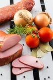 Geschnittenes Schweinefleisch für Sandwiche Geräuchertes Schweinefleisch Stockfoto