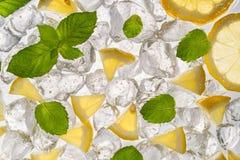 Geschnittenes Zitroneneis und tadelloser Hintergrund stockbilder