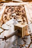 Geschnitzte hölzerne Türen Stockfotos