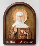 Geschnitzte Ikone von hölzernem handgemachtem Heiliges angelina Lizenzfreie Stockfotografie