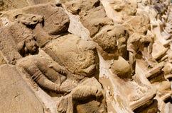 Geschnitzte Skulptur in Kailasanath-Tempel ist der älteste Tempel von K Stockfotografie