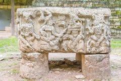 Geschnitzte Steine an den Mayaruinen in Copan Ruinas, Honduras Lizenzfreies Stockbild
