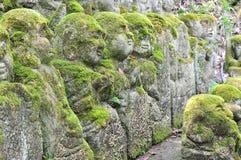 Geschnitzte Steinzahlen von Rakan an Otagi-nenbutsu-ji Tempel in den Aronstäben Stockbilder