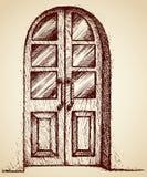 Geschnitzte Tür mit Glas Blumenhintergrund mit Gras Lizenzfreie Stockfotografie