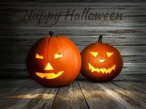 Geschnitzter Halloween-Kürbis Jack-Laterne mit Kerzenlicht nach innen auf hölzernem Hintergrund Abbildung 3D Lizenzfreies Stockbild