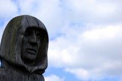 Geschnitzter Kopf eines Mönchs Stockfotos