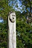 Geschnitztes Gesicht im Holz lizenzfreies stockfoto