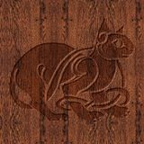 Geschnitztes hölzernes keltisches Symbol Lizenzfreies Stockfoto