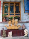 Geschnitztes Jadeschiff in China Stockbild
