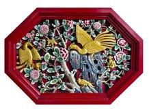 Geschnitztes Schwan-und Blumen-BildOctagonrot auf Weiß. Lizenzfreie Stockfotos