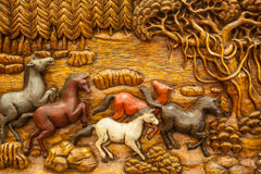 Geschnitztes thailändisches Pferd Stockfotografie
