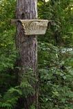 Geschnitztes Willkommensschild auf Baum im Holz lizenzfreies stockbild