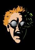 Geschokt gezicht met zwarte beschermende brillen royalty-vrije stock fotografie