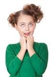 Geschokt mooi meisje dat wow uitdrukking maakt stock foto