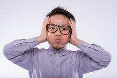 Geschokte Aziatische jongen Royalty-vrije Stock Foto