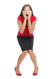 Geschokte en verraste geïsoleerde vrouw Stock Afbeelding