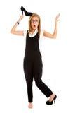 Geschokte geïsoleerder vrouw Verraste onderneemster met grappig Stock Foto