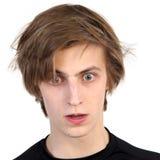 Geschokte jonge mens Stock Foto's
