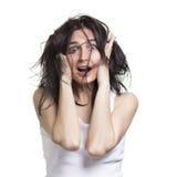 Geschokte vrouw Stock Foto's