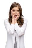 Geschokte vrouw die handen op hoofd zetten Stock Foto's