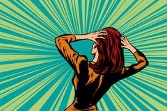 Geschokte vrouwen achter, menselijke reactie stock illustratie