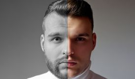 Geschoren versus de ongeschoren mens Na of vóór geschoren Reeks van de gebaarde mens De herenkapper van de haarstijl voor de Knap royalty-vrije stock afbeelding