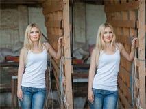 Geschossen vom schönen Mädchen nahe einem alten Bretterzaun Stilvolle Blickabnutzung: weiße grundlegende Spitze, Denimjeans Landh Stockfoto