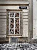 Geschossen von einem Spiegelgeschäftsfenster in Wien stockbild