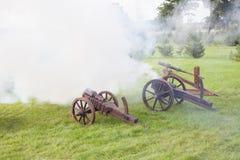 Geschossen von einer Kanone Lizenzfreies Stockbild