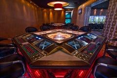 Geschossen von einer Sitzung in einem realen Kasino Stockfotos