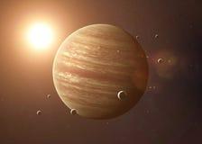 Geschossen von Jupiter genommen vom offenen Raum collage stockfoto