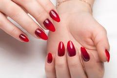 Geschossene schöne Maniküre mit Steigung auf weiblichen Fingern Nageldesign Nahaufnahme lizenzfreies stockfoto