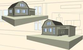 Geschosshaus mit Garage stockbild