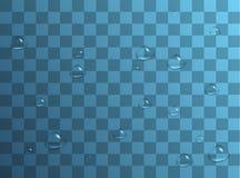 Geschoten in een studio Regendruppels of douches, condensatie op het glas Dauw na regen Geïsoleerd op transparante achtergrond royalty-vrije illustratie
