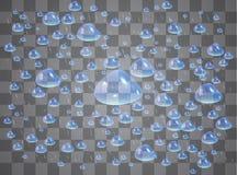 Geschoten in een studio Regendruppels of douches, condensatie op het glas Dauw na regen Geïsoleerd op transparante achtergrond stock illustratie