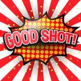 Geschoten goed, Grappige Toespraakbel Vector Stock Foto