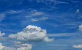 Geschoten van blauwe hemel met wolkenclose-up Royalty-vrije Stock Fotografie