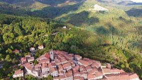 Geschotene antenne, schitterend klassiek klein Italiaans dorp op de heuvelluchtparade, in midden van de groene aard stock videobeelden