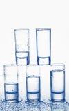 Geschotene glazen wodka Stock Foto