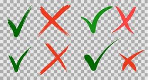 Geschreven de hand doet en controleert maatstreepje en rood kruischeckbox geen pictogrammen die ontwerp van letters voorzien op g stock illustratie