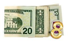2018 geschreven die met dollars op witte achtergrond worden geïsoleerd Stock Foto