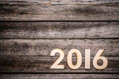 2016 geschreven in houten cijfers Royalty-vrije Stock Foto