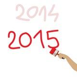 2015 geschreven met rode borstel Royalty-vrije Stock Foto's