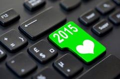 2015 geschreven op een groene computersleutel Stock Afbeelding