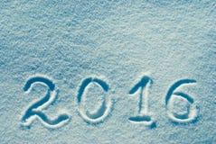 2016 geschreven op een sneeuw 1 Stock Afbeeldingen
