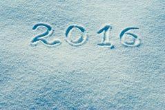 2016 geschreven op een sneeuw 3 Stock Foto's