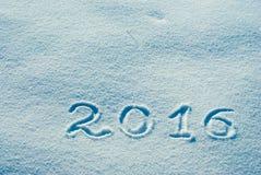 2016 geschreven op een sneeuw 4 Stock Foto's