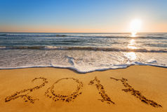 Geschreven 2017 op het strand Stock Fotografie